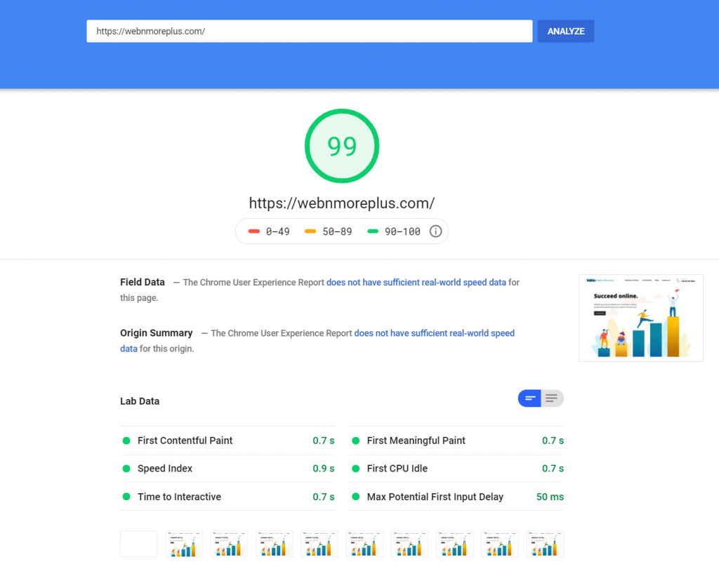 PageSpeed Score for webnmoreplus.com